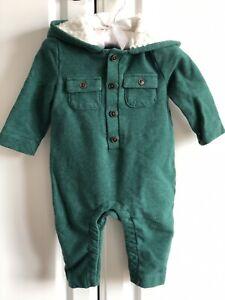 Mint Janie Jack Classic Christmas Holiday Green Hoodie BodysuitCotton Baby 3-6M