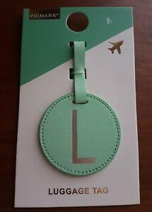 "PRIMARK LONDON LEATHER ""L"" MONOGRAM LUGGAGE TAG-GREEN"