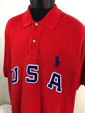 Ralph Lauren Polo Shirt USA Spell Out Rugby Men's 3XB 3XL Sport Bear RLX Red