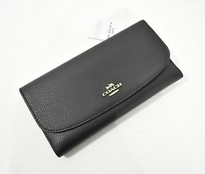 NWT! Coach F16613 Pebbled Leather Checkbook Wallet in Black MSRP $250