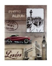 """Vintage Slip In Photo Album Holds 300 6"""" x 4"""" Photos Gift London Red Car UK"""