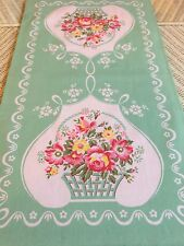 New LuRay Vintage Style Pretty Kitchen Tea Towel - Beautiful GREEN Floral Basket