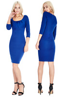 Goddess Blue Pleated Bust 3/4 Sleeve Fitted Cocktail Evening Party Summer Dress