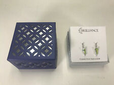 Brilliance Crystals from Swarovski Stud Earrings Silver Tone Green Hanging Gems