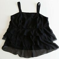 Target Black Blouse Plus Size 20 Top Layered Ruffle Casual Work Evening Strappy