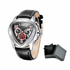 JARAGAR Fashion Triangle Semi-Automatic Men Mechanical Watch Leather Strap & Box
