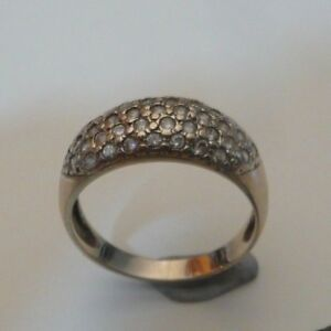 100% Genuine 9k Solid White Gold CZ Dome Style Ring Size 7.5