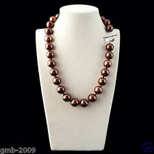 """Rare Natural 12mm Chocolate South Sea Shell Pearl Heart Clasp Necklace 18"""" AAA+"""
