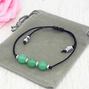 Handmade Natural Green Aventurine Gemstone Cord Bracelet & Velvet Pouch. 6/8mm.