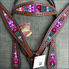 C-TEC3 Western Horse Headstall Breast Collar Set Tack American Leather Aztec