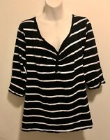 EUC Retro Torrid Twist Tees Henley 3/4 Sleeve Black White Striped Top 2x