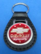 CHEVY BOW-TIE AUTO LEATHER KEYCHAIN KEY CHAIN RING FOB #270 RED
