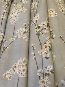 """Porcelain Grey Blossom Design Pencil Pleat Curtains 54""""/72"""" Drop Lined Blackout"""
