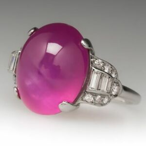 1930's Art Deco Star Pink Cabochon Sapphire Sterling 925 Silver Ring For Women's