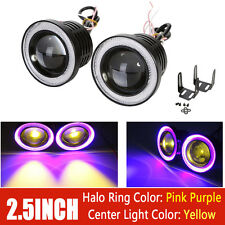 Pair 2.5inch Amber COB Projector Fog Light + Pink Purple Halo Angel Eye Ring DRL