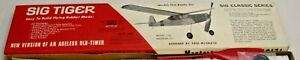 SIG TIGER FREE FLIGHT GAS OR RUBBER BAND AIRPLANE MODEL KIT 1970s BOXED