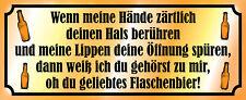 Geliebtes Flaschenbier Bier Blechschild Schild gewölbt Tin Sign 10 x 27 cm K0392