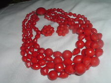 And Clip Earrings Set Vintage Chunky Red Celluloid Necklace