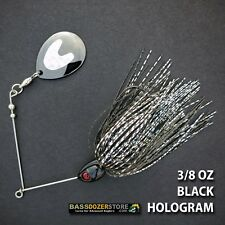 Bassdozer spinnerbaits LONG ARM THUMPER 3/8 oz BLACK HOLOGRAM spinner bait lure