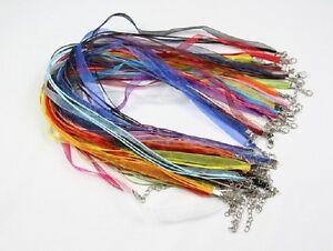 10 Colliers tour de cou Organza et Coton Ciré Mousqueton 43 à 48cm Mix couleurs