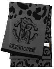 New Roberto Cavalli Logo & Animal Print Wool Blend Knit Scarf Gray / Black