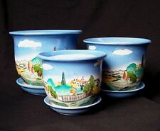 "7 3/4"" SET OF 3 CERAMIC  PLANTERS SMALL FLOWER POTS handpainted ITALY SCENE"