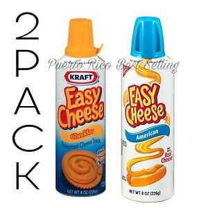 (2) cans Kraft Easy Cheese Squeeze 1 Can of Cheddar & 1 can of American Flavor