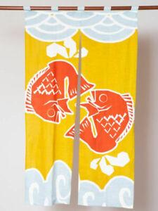 Noren Japanese Doorway Curtain - Red Tai Sea Bream Design - (Long)