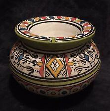 Vintage Moroccan Pottery Safi Fes Large Two-Piece Smokeless Ashtray Pot