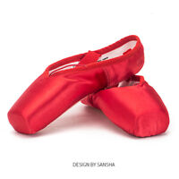 Sansha Ballet Pointe Shoes Satin Upper With Ribbon Dance Toe Shoes Red US 2-11.5