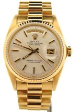 Mens Rolex Day-Date President 18K Yellow Gold Watch Silver Dial Vintage 1803