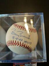 Barry Bonds Autographed Baseball 8-9-02 #600 HR inscribed. JSA certified