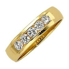 1.25 carat total 5 Round cut Diamond Ring 14k Yellow Gold Wedding Band F-G color
