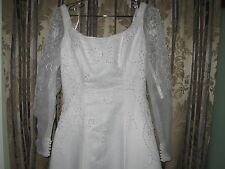 NEW!EDEN  BRIDALS White Pearly Long Net Sleeve Wedding Dress sz 7/8