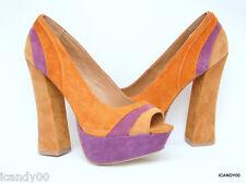 New $130 Steve Madden *GAAYLE* Open Toe Platform Pump Heel ~Brown/Multi *7.5