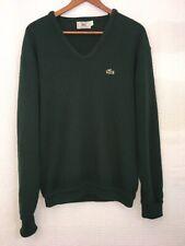 Vintage IZOD Lacoste Sweater Mens Large Green V-neck Rolled Cuffs