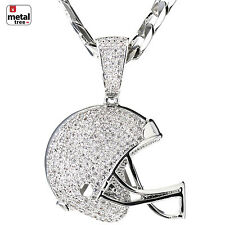 Men's Football Helmet Iced Pendant Silver Plated Cuban Chain Necklace BCH 1149 S