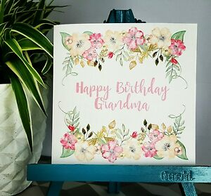 PERSONALISED Handmade Birthday Floral Watercolour Print Nan Grandma Granny Card