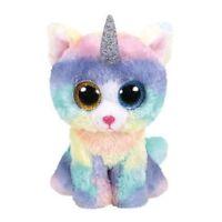 Ty Beanie Babies Boos Heather the Unicorn Cat kitty Rainbow Plush Toy
