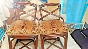 """""""2"""" VINTAGE HANDCRAFTED BAMBOO CHAIRS W/ ANIMAL PRINT CUSHIONS"""