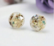 ABALONE SHELL CREAM ROUND STUD EARRINGS