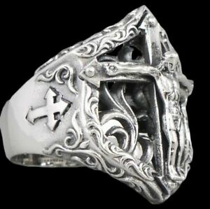 JESUS ARTISAN FLORAL CROSS CRUCIFIX 925 STERLING SOLID SILVER MENS WOMENS RING