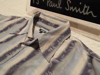 """PAUL SMITH Mens Shirt 🌍 Size L (CHEST 42"""") 🌎 RRP £95+ 📮FLORAL JACQUARD STRIPE"""