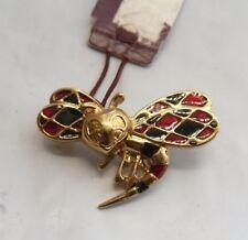 broche couleur or émail abeille bestiaire brooch broosch bijou vintage * 4159