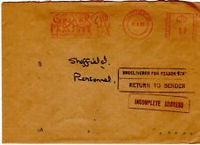 1985 Manchester to Sheffield Incomplete Address return to Sender
