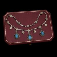 Antique Vintage Nouveau Sterling Silver Etruscan Lapis Lazuli Festoon Necklace
