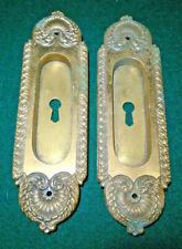 PAIR OF BRASS EASTLAKE POCKET DOOR PULLS: VERY NICE SET  (12577)