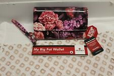 Mundi My Big Fat Wallet RFID SAFEKEEPER FLORAL Plum Garden Checkbook Phone NWT