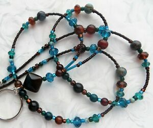 EARTH AGATE- Beaded Lanyard ID Badge Holder- Teacher Gift, Necklace Clasp