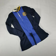 Ralph Lauren RUBGY Polo Dress Blue Navy Yellow White collar SMALL front belt tie